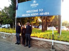 Left to Right: Evans, Joy and Brian at the Hilton Addis Ababa